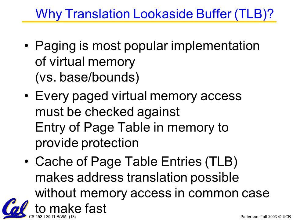 CS 152 L20 TLB/VM (18)Patterson Fall 2003 © UCB Why Translation Lookaside Buffer (TLB).