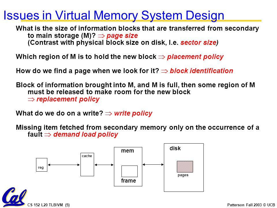 CS 152 L20 TLB/VM (6)Patterson Fall 2003 © UCB Kernel/User Mode Generally restrict device access, page table to OS HOW.