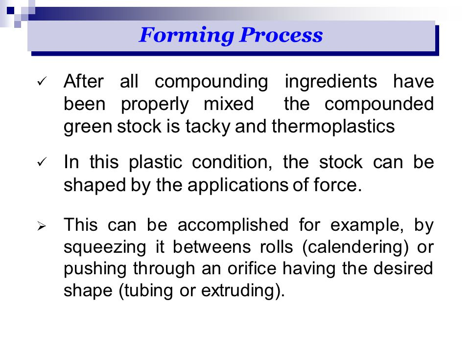 After all compounding ingredients have been properly mixed the compounded green stock is tacky and thermoplastics In this plastic condition, the stock