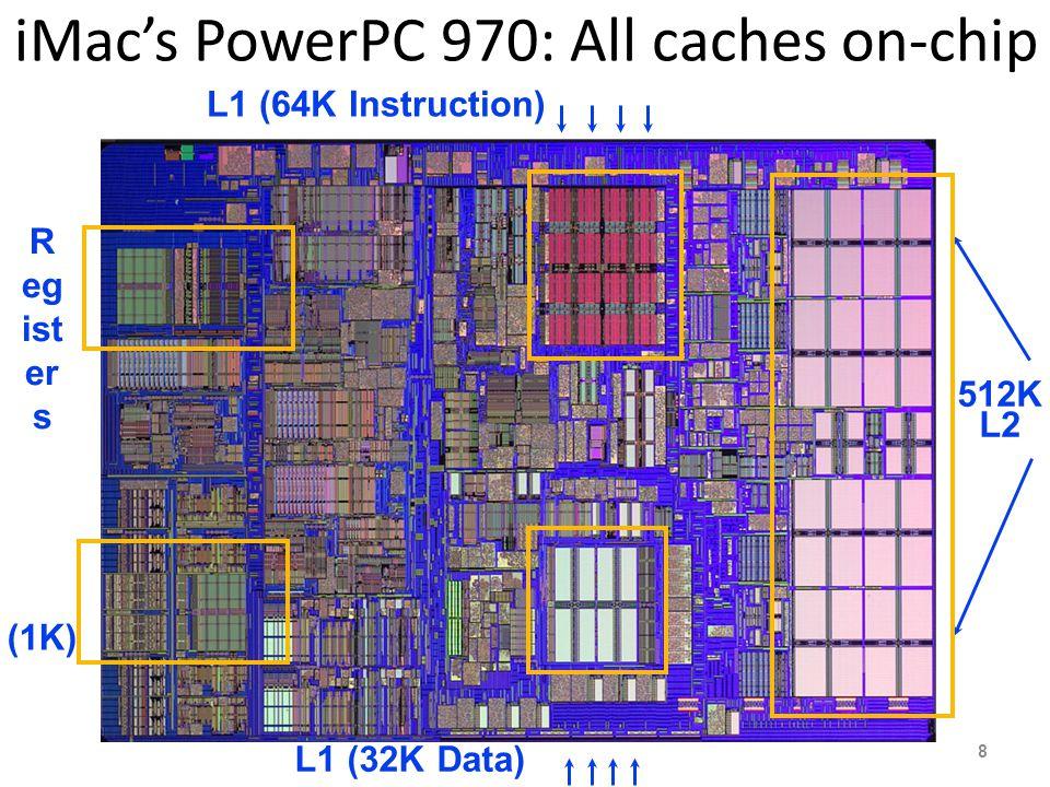 iMac's PowerPC 970: All caches on-chip (1K) R eg ist er s 512K L2 L1 (64K Instruction) L1 (32K Data) 8