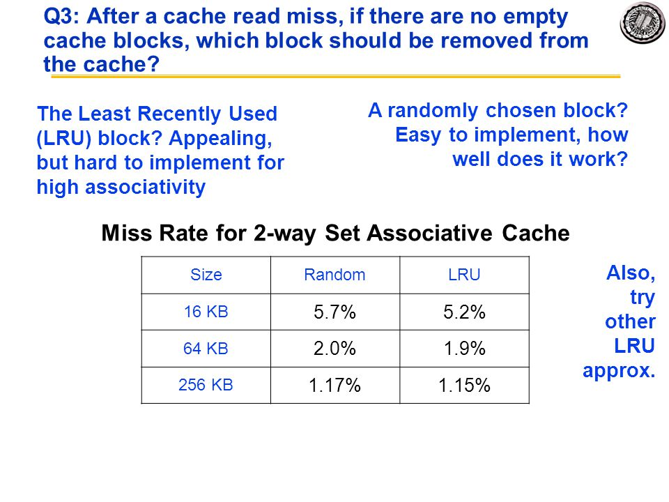 Q3: After a cache read miss, if there are no empty cache blocks, which block should be removed from the cache? A randomly chosen block? Easy to implem