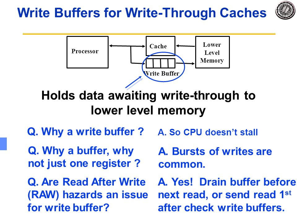 Write Buffers for Write-Through Caches Q. Why a write buffer ? Processor Cache Write Buffer Lower Level Memory Holds data awaiting write-through to lo