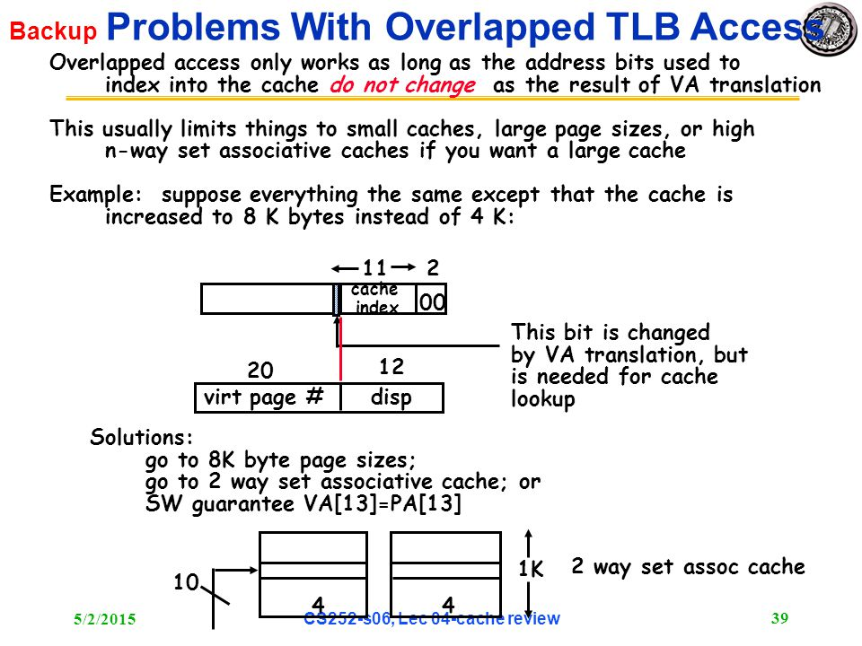 5/2/2015 CS252-s06, Lec 04-cache review 39 Backup Problems With Overlapped TLB Access Overlapped access only works as long as the address bits used to index into the cache do not change as the result of VA translation This usually limits things to small caches, large page sizes, or high n-way set associative caches if you want a large cache Example: suppose everything the same except that the cache is increased to 8 K bytes instead of 4 K: 112 00 virt page #disp 20 12 cache index This bit is changed by VA translation, but is needed for cache lookup Solutions: go to 8K byte page sizes; go to 2 way set associative cache; or SW guarantee VA[13]=PA[13] 1K 44 10 2 way set assoc cache