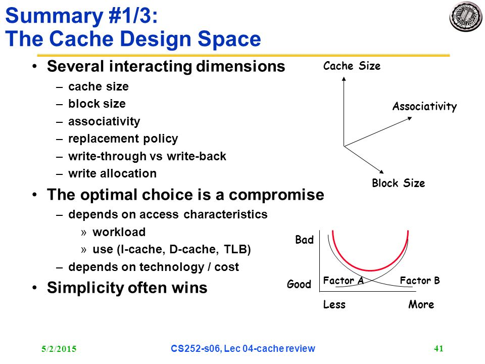 5/2/2015 CS252-s06, Lec 04-cache review 41 Summary #1/3: The Cache Design Space Several interacting dimensions –cache size –block size –associativity –replacement policy –write-through vs write-back –write allocation The optimal choice is a compromise –depends on access characteristics »workload »use (I-cache, D-cache, TLB) –depends on technology / cost Simplicity often wins Associativity Cache Size Block Size Bad Good LessMore Factor AFactor B