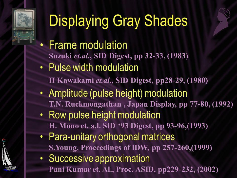 Displaying Gray Shades Frame modulation Suzuki et.al., SID Digest, pp 32-33, (1983) Pulse width modulation H Kawakami et.al., SID Digest, pp28-29, (1980) Amplitude (pulse height) modulation T.N.