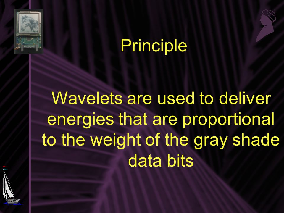 Principle Wavelets are used to deliver energies that are proportional to the weight of the gray shade data bits
