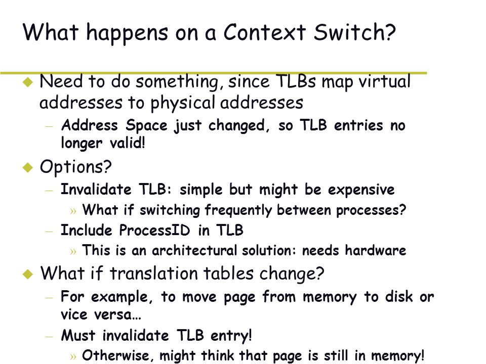 What happens on a Context Switch.