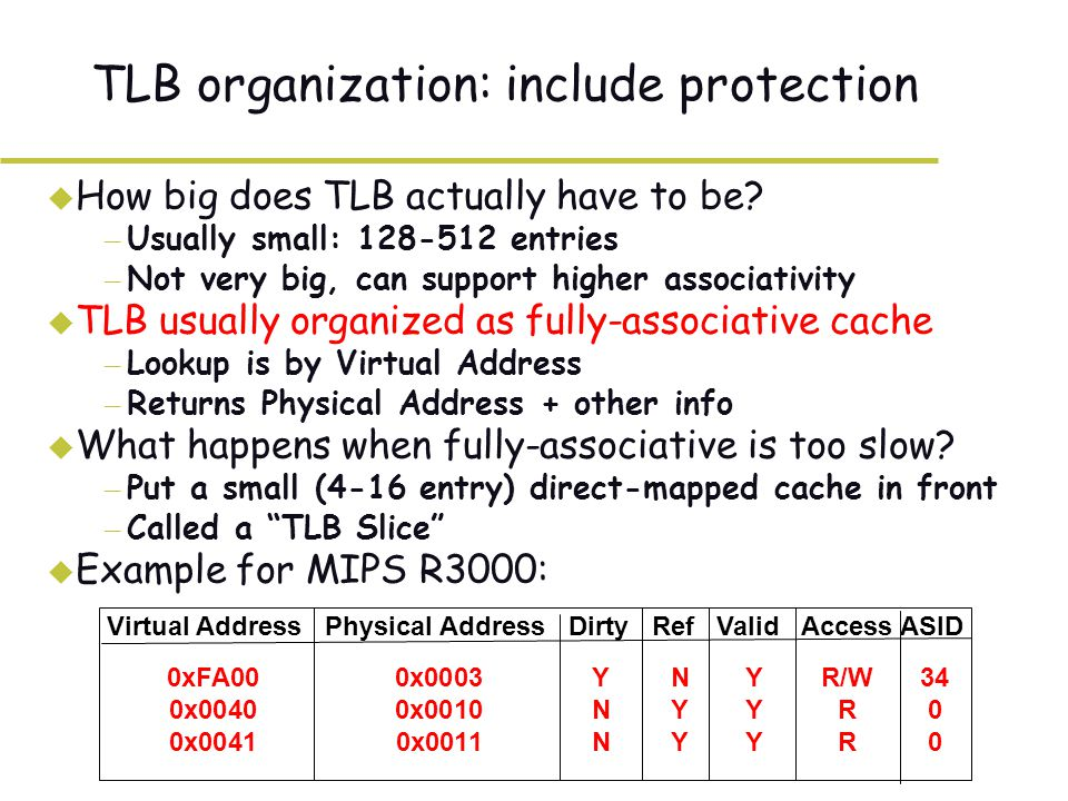 TLB organization: include protection u How big does TLB actually have to be.