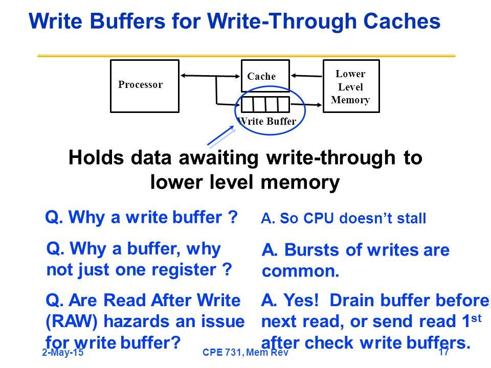 Write Buffers for Write-Through Caches Q. Why a write buffer .