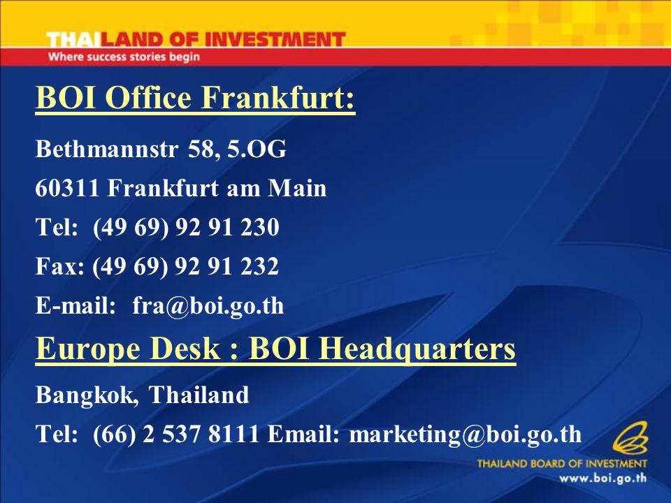 BOI Office Frankfurt: Bethmannstr 58, 5.OG 60311 Frankfurt am Main Tel: (49 69) 92 91 230 Fax: (49 69) 92 91 232 E-mail: fra@boi.go.th Europe Desk : BOI Headquarters Bangkok, Thailand Tel: (66) 2 537 8111 Email: marketing@boi.go.th