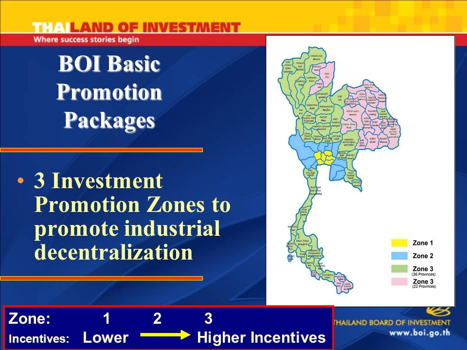 BOI Basic Promotion Packages 3 Investment Promotion Zones to promote industrial decentralization Zone: 1 2 3 Incentives: Lower Higher Incentives