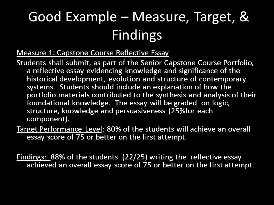 Good Example – Measure, Target, & Findings Measure 1: Capstone Course Reflective Essay Students shall submit, as part of the Senior Capstone Course Po