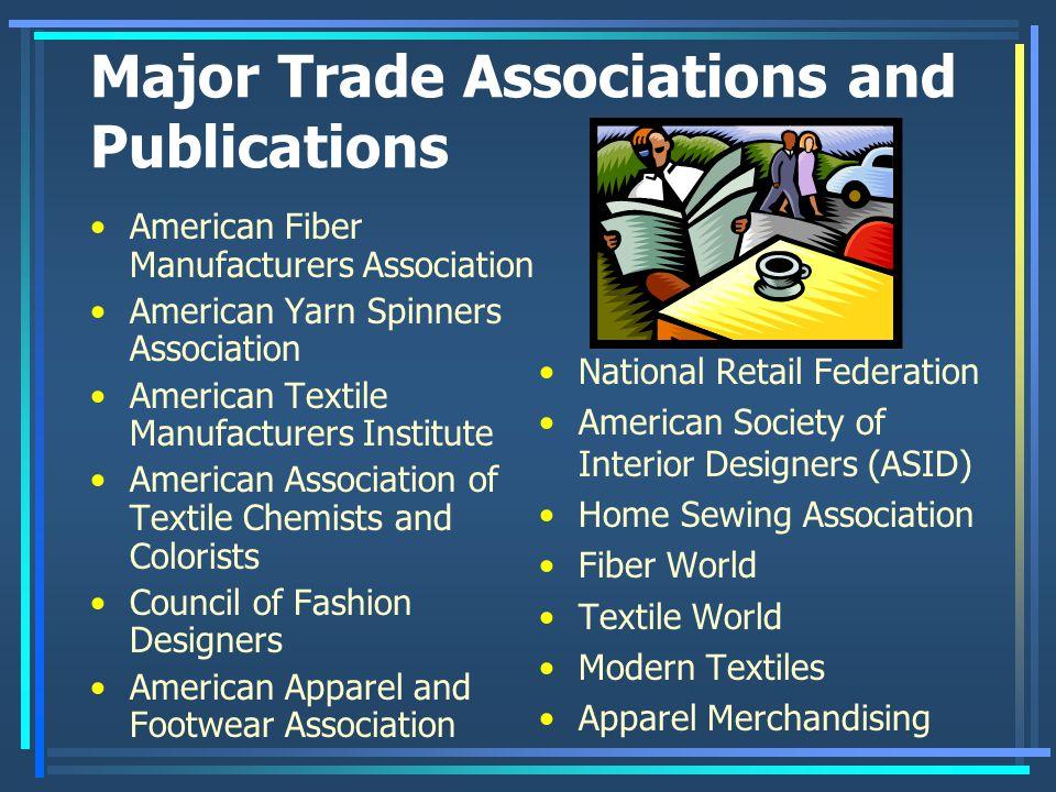 Major Trade Associations and Publications American Fiber Manufacturers Association American Yarn Spinners Association American Textile Manufacturers I