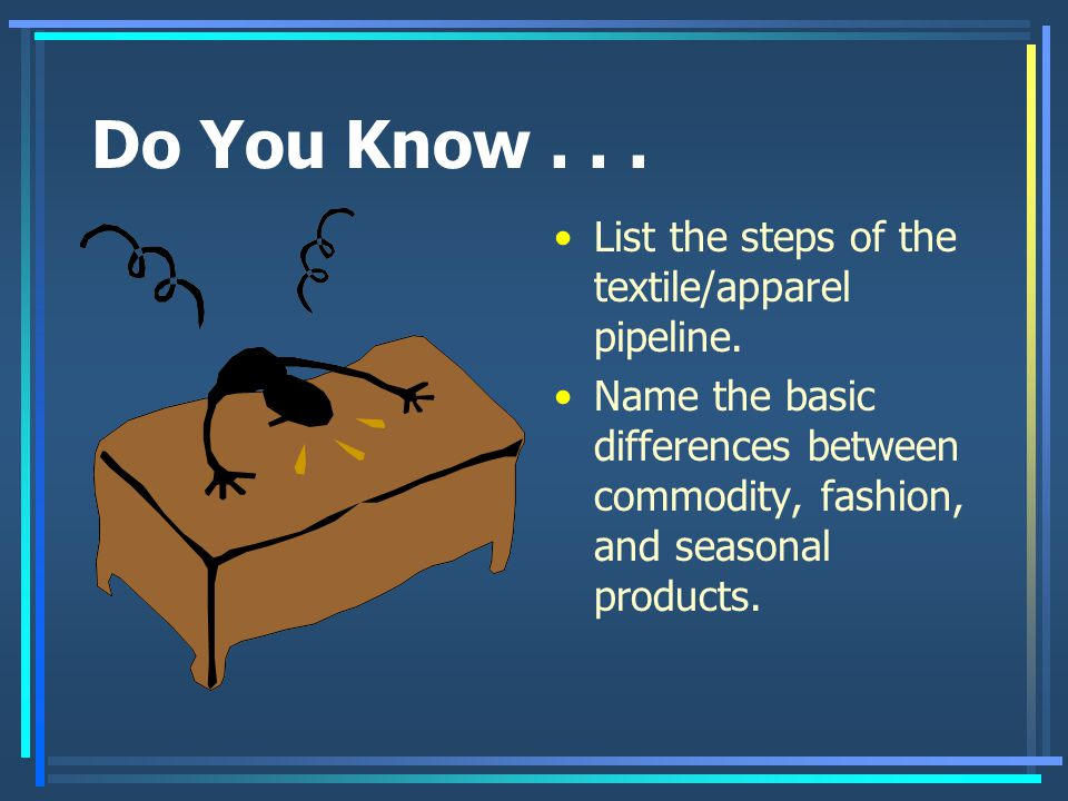 Do You Know...List the steps of the textile/apparel pipeline.
