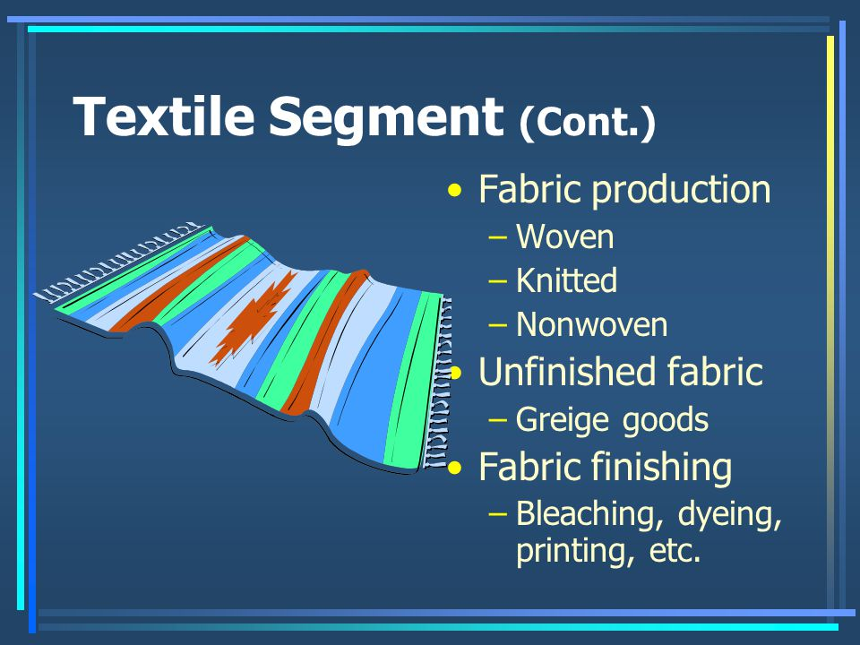 Textile Segment (Cont.) Fabric production –Woven –Knitted –Nonwoven Unfinished fabric –Greige goods Fabric finishing –Bleaching, dyeing, printing, etc.