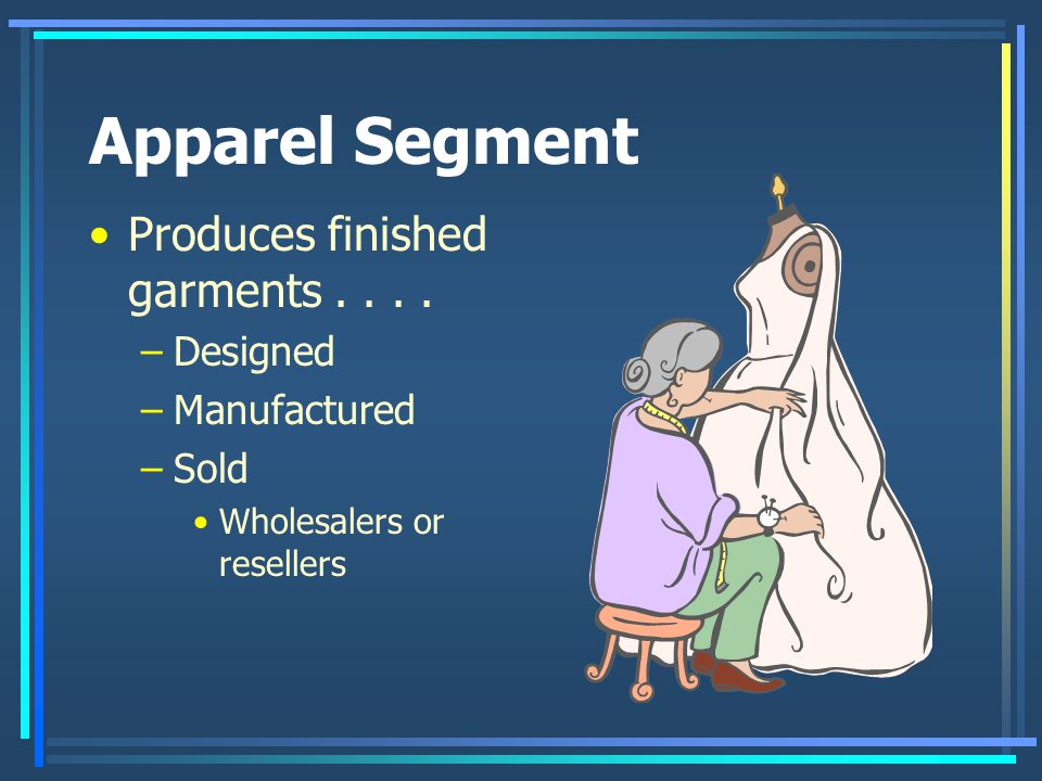 Apparel Segment Produces finished garments....
