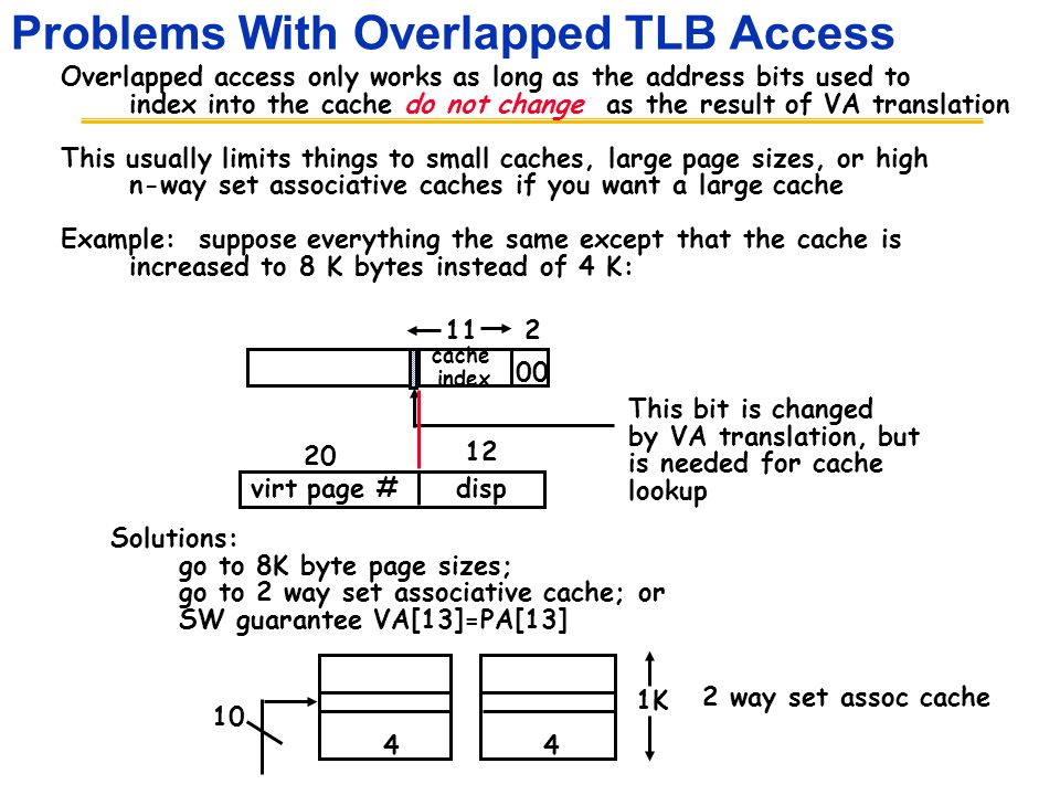 Problems With Overlapped TLB Access Overlapped access only works as long as the address bits used to index into the cache do not change as the result of VA translation This usually limits things to small caches, large page sizes, or high n-way set associative caches if you want a large cache Example: suppose everything the same except that the cache is increased to 8 K bytes instead of 4 K: 112 00 virt page #disp 20 12 cache index This bit is changed by VA translation, but is needed for cache lookup Solutions: go to 8K byte page sizes; go to 2 way set associative cache; or SW guarantee VA[13]=PA[13] 1K 44 10 2 way set assoc cache