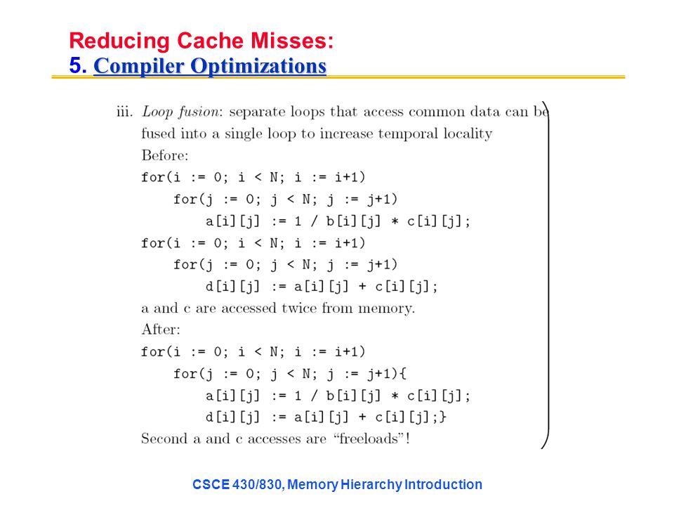 Compiler Optimizations Reducing Cache Misses: 5.
