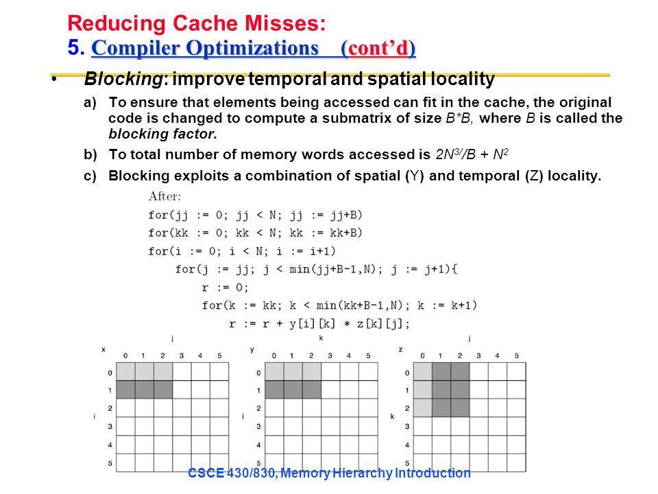 Compiler Optimizations (cont'd) Reducing Cache Misses: 5.