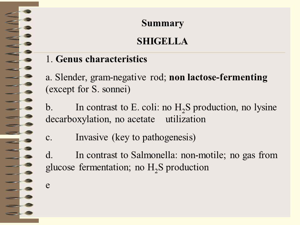 Summary SHIGELLA 1.Genus characteristics a.