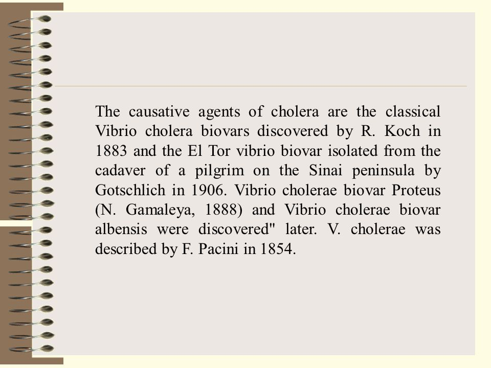 The causative agents of cholera are the classical Vibrio cholera biovars discovered by R. Koch in 1883 and the El Tor vibrio biovar isolated from the