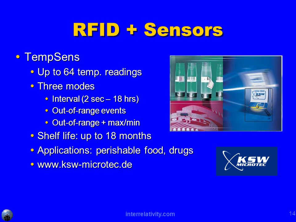 interrelativity.com 14 RFID + Sensors  TempSens  Up to 64 temp.
