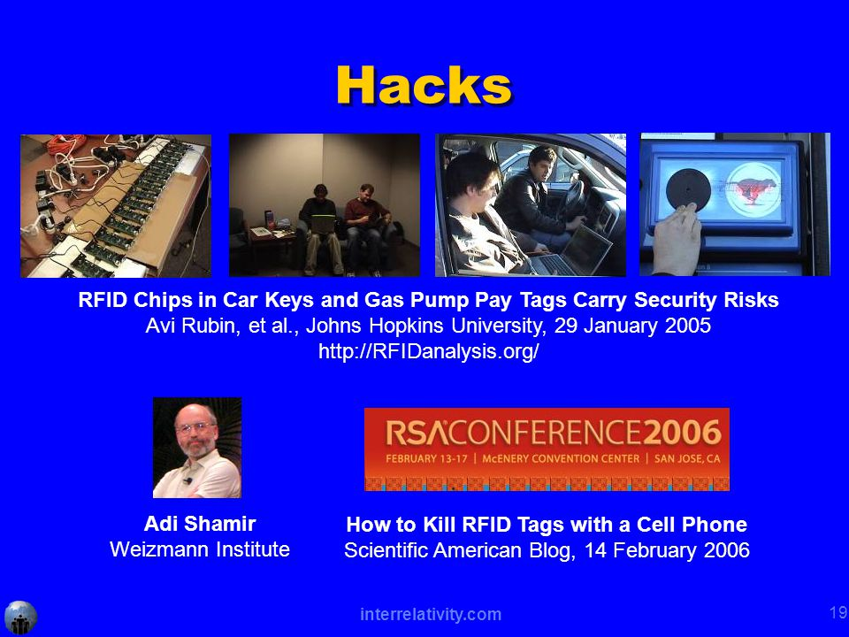 interrelativity.com 19 Hacks RFID Chips in Car Keys and Gas Pump Pay Tags Carry Security Risks Avi Rubin, et al., Johns Hopkins University, 29 January 2005 http://RFIDanalysis.org/ How to Kill RFID Tags with a Cell Phone Scientific American Blog, 14 February 2006 Adi Shamir Weizmann Institute