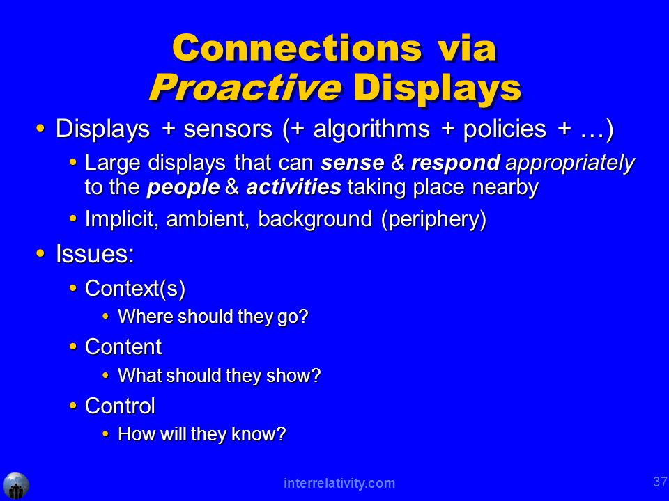 interrelativity.com 37 Connections via Proactive Displays  Displays + sensors (+ algorithms + policies + …)  Large displays that can sense & respond appropriately to the people & activities taking place nearby  Implicit, ambient, background (periphery)  Issues:  Context(s)  Where should they go.