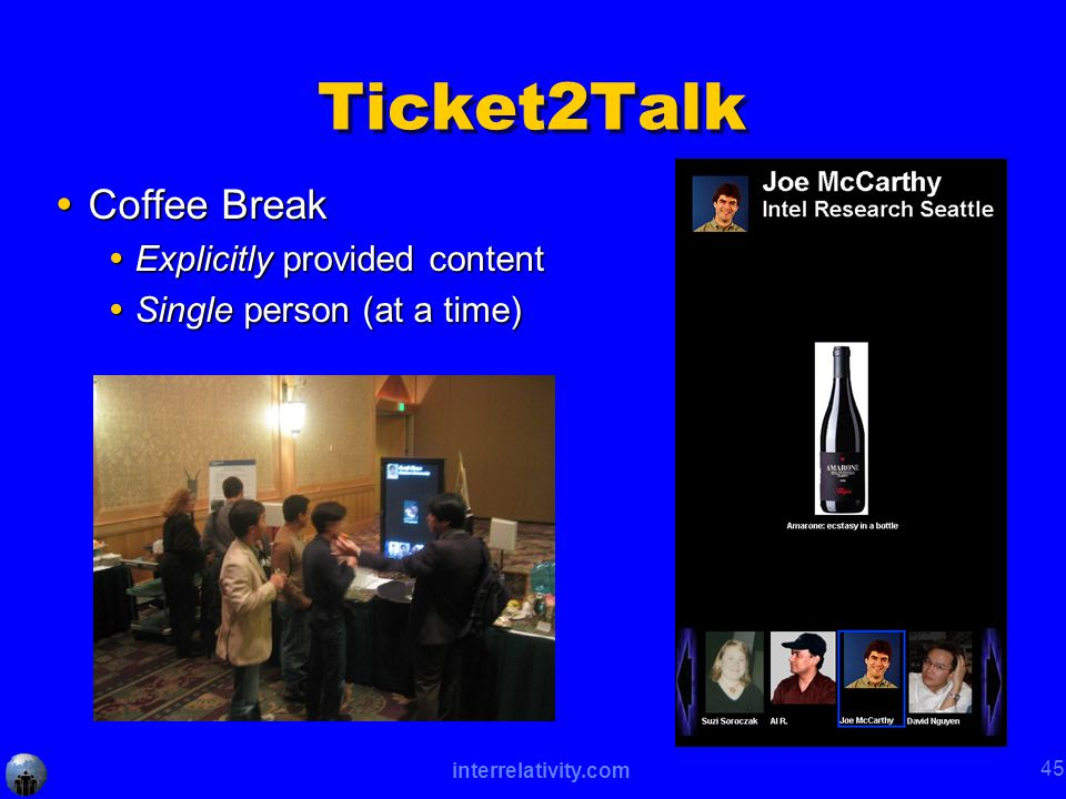 interrelativity.com 45 Ticket2Talk  Coffee Break  Explicitly provided content  Single person (at a time)