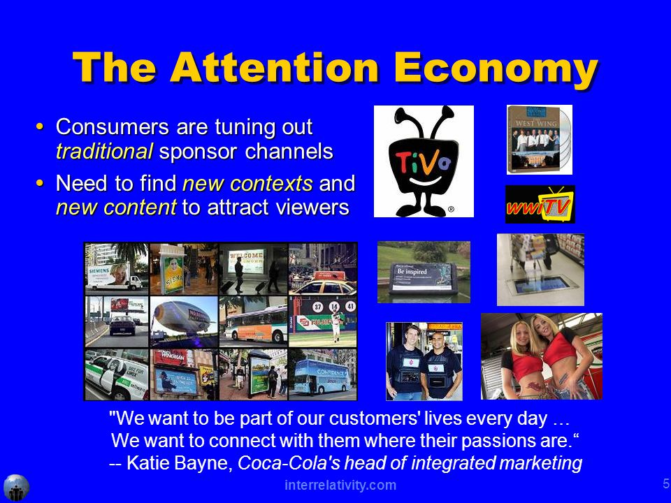 interrelativity.com 5 The Attention Economy  Consumers are tuning out traditional sponsor channels  Need to find new contexts and new content to attract viewers We want to be part of our customers lives every day … We want to connect with them where their passions are. -- Katie Bayne, Coca-Cola s head of integrated marketing