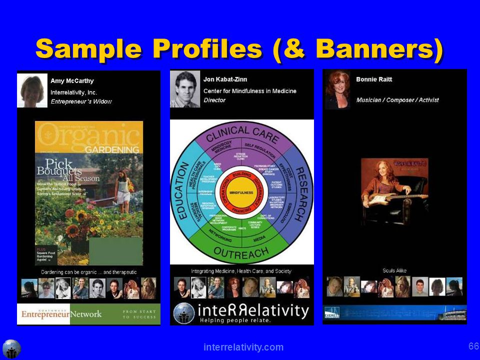 interrelativity.com 66 Sample Profiles (& Banners)
