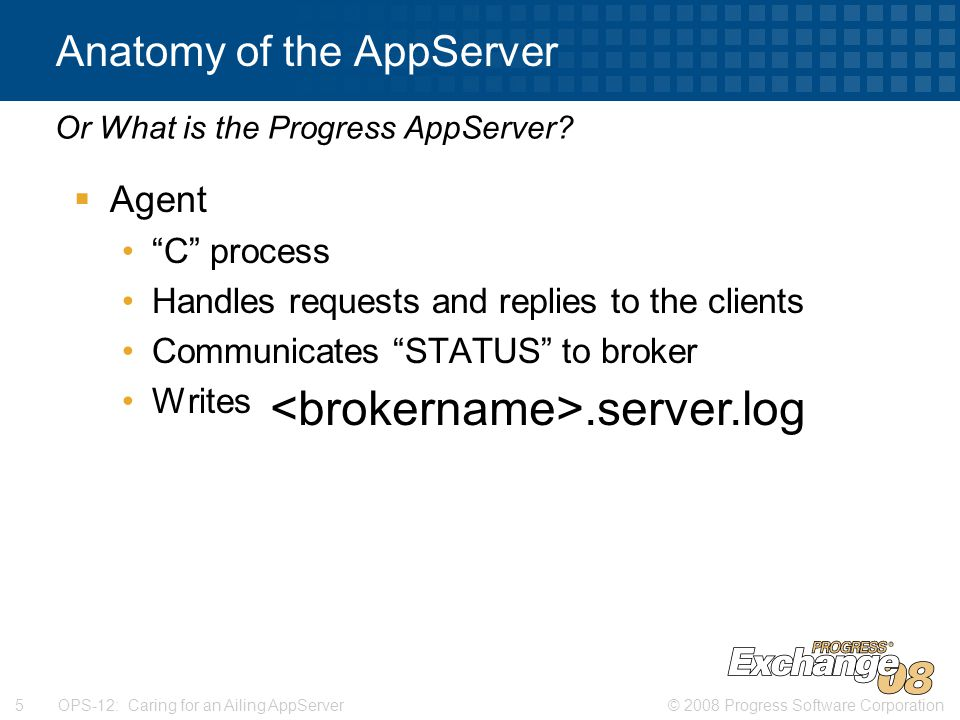 © 2008 Progress Software Corporation5 OPS-12: Caring for an Ailing AppServer Anatomy of the AppServer  Agent C process Handles requests and replies to the clients Communicates STATUS to broker Writes to.server.log Or What is the Progress AppServer .server.log