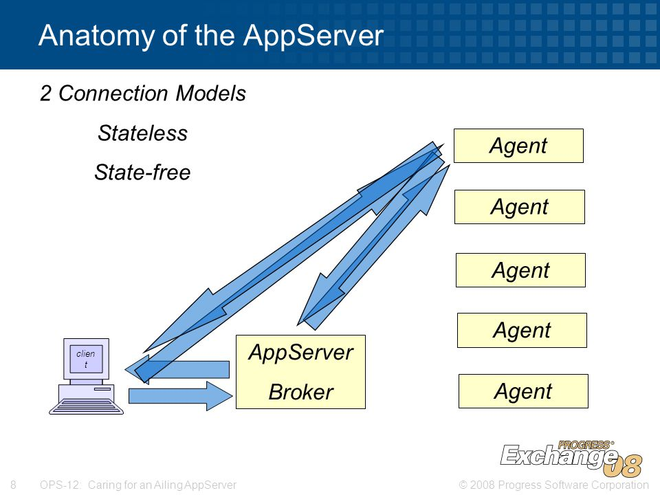 © 2008 Progress Software Corporation8 OPS-12: Caring for an Ailing AppServer Anatomy of the AppServer 2 Connection Models State-aware State-reset clien t AppServer Broker Agent 2 Connection Models Stateless State-free