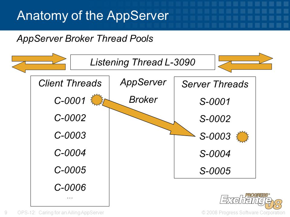 © 2008 Progress Software Corporation9 OPS-12: Caring for an Ailing AppServer Anatomy of the AppServer AppServer Broker Thread Pools AppServer Broker Listening Thread L-3090 Client Threads C-0001 C-0002 C-0003 C-0004 C-0005 C-0006 … Server Threads S-0001 S-0002 S-0003 S-0004 S-0005