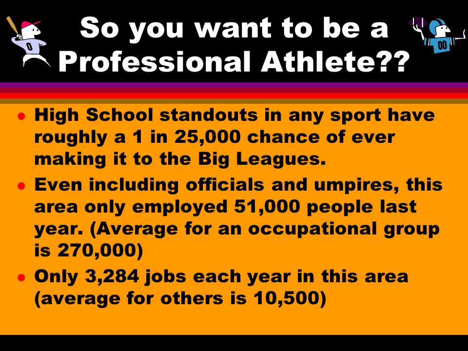So you want to be a Professional Athlete?? l High School standouts in any sport have roughly a 1 in 25,000 chance of ever making it to the Big Leagues