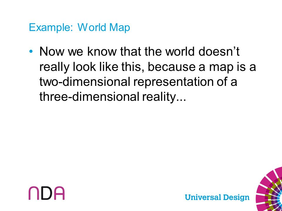 Now we know that the world doesn't really look like this, because a map is a two-dimensional representation of a three-dimensional reality...
