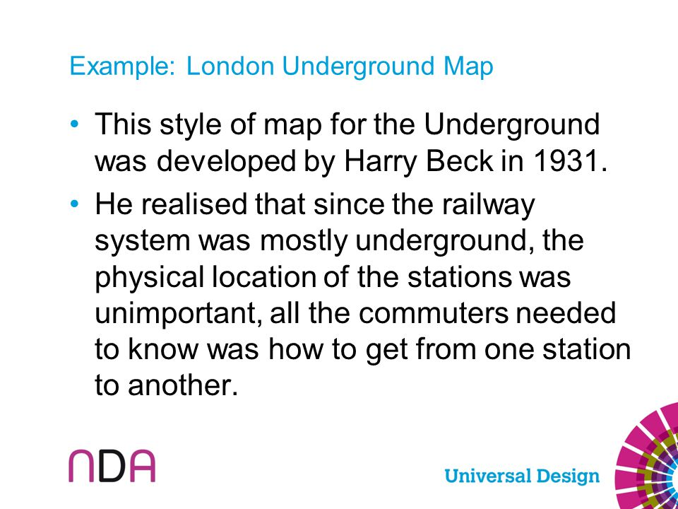 Example: London Underground Map This style of map for the Underground was developed by Harry Beck in 1931. He realised that since the railway system w