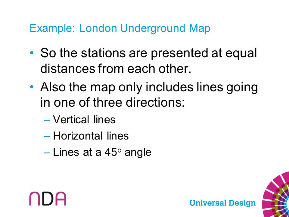 Example: London Underground Map So the stations are presented at equal distances from each other. Also the map only includes lines going in one of thr