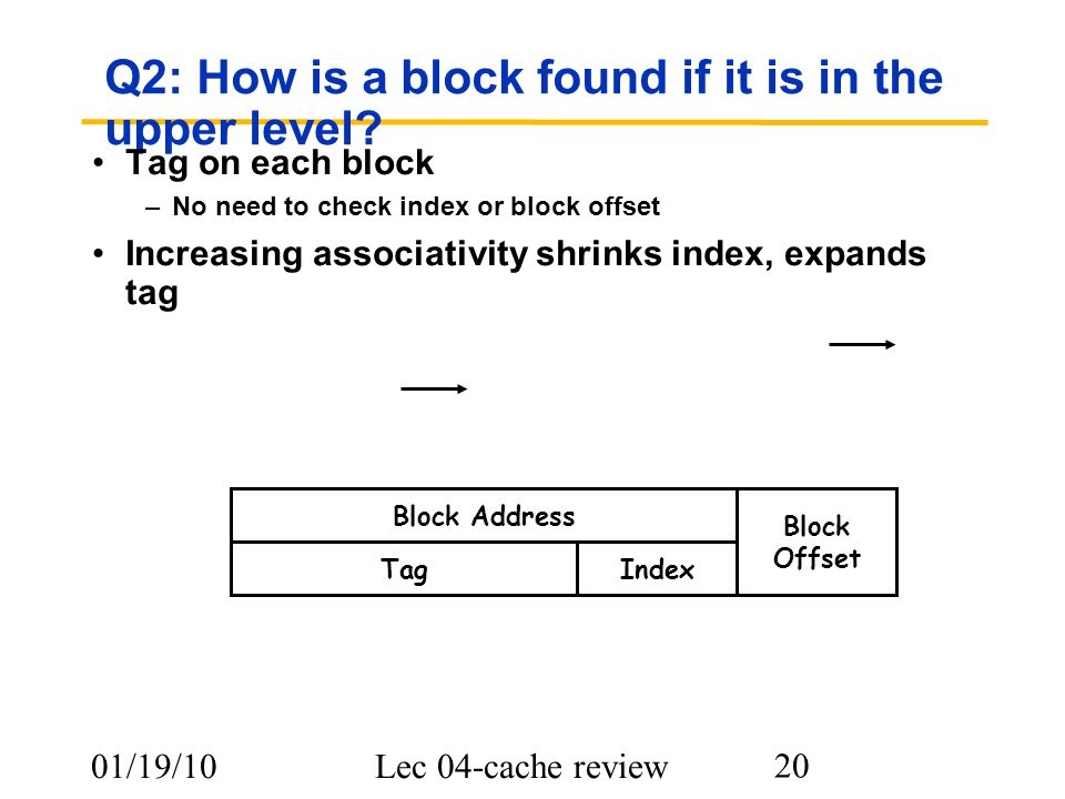 01/19/10Lec 04-cache review 20 Q2: How is a block found if it is in the upper level? Tag on each block –No need to check index or block offset Increas