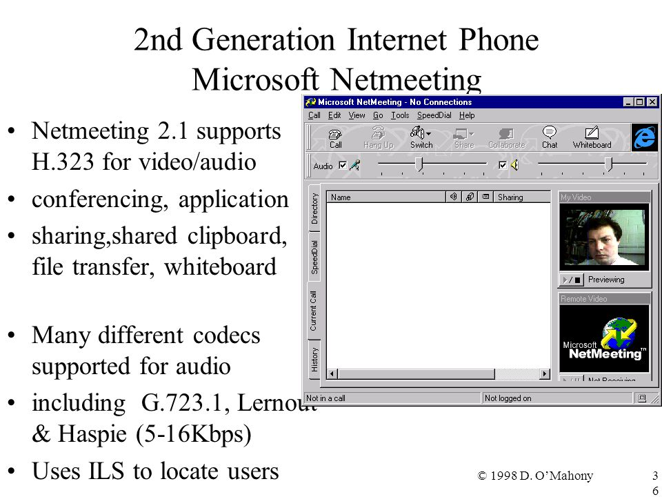 © 1998 D. O'Mahony36 2nd Generation Internet Phone Microsoft Netmeeting Netmeeting 2.1 supports H.323 for video/audio conferencing, application sharin