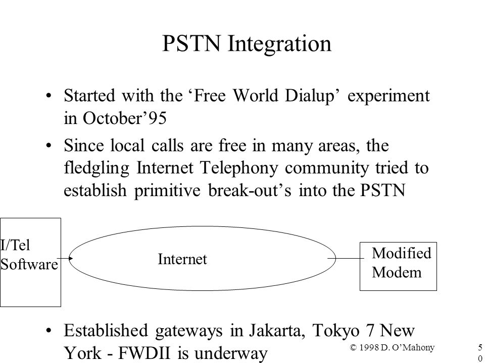 © 1998 D. O'Mahony50 PSTN Integration Started with the 'Free World Dialup' experiment in October'95 Since local calls are free in many areas, the fled