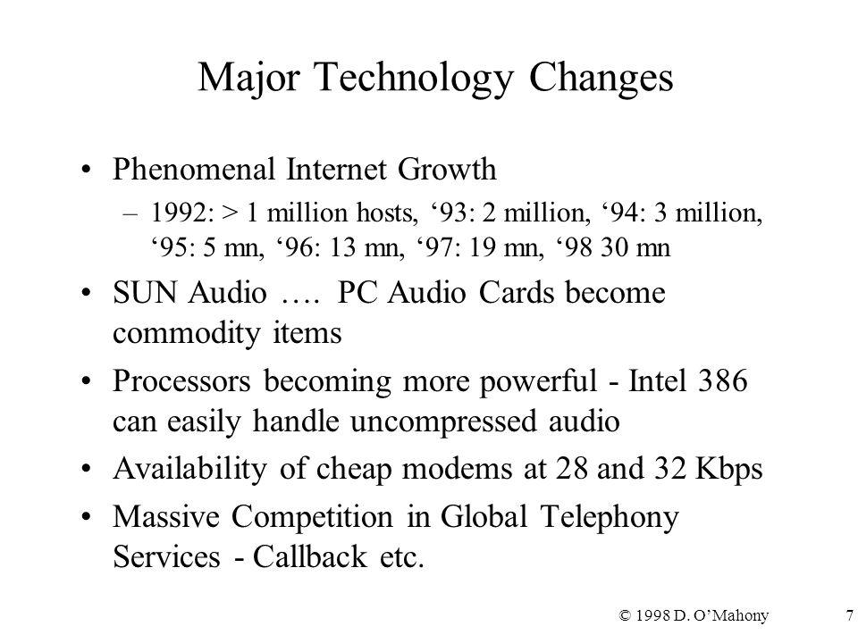 © 1998 D. O'Mahony7 Major Technology Changes Phenomenal Internet Growth –1992: > 1 million hosts, '93: 2 million, '94: 3 million, '95: 5 mn, '96: 13 m