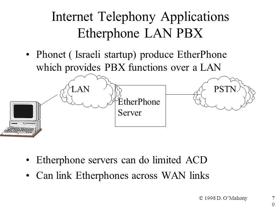 © 1998 D. O'Mahony70 Internet Telephony Applications Etherphone LAN PBX Phonet ( Israeli startup) produce EtherPhone which provides PBX functions over