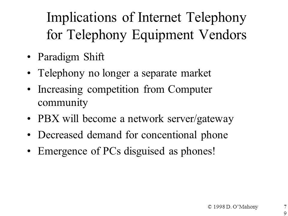 © 1998 D. O'Mahony79 Implications of Internet Telephony for Telephony Equipment Vendors Paradigm Shift Telephony no longer a separate market Increasin