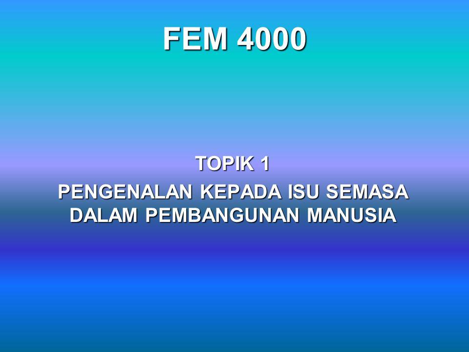 FEM 4000 TOPIK 1 PENGENALAN KEPADA ISU SEMASA DALAM PEMBANGUNAN MANUSIA