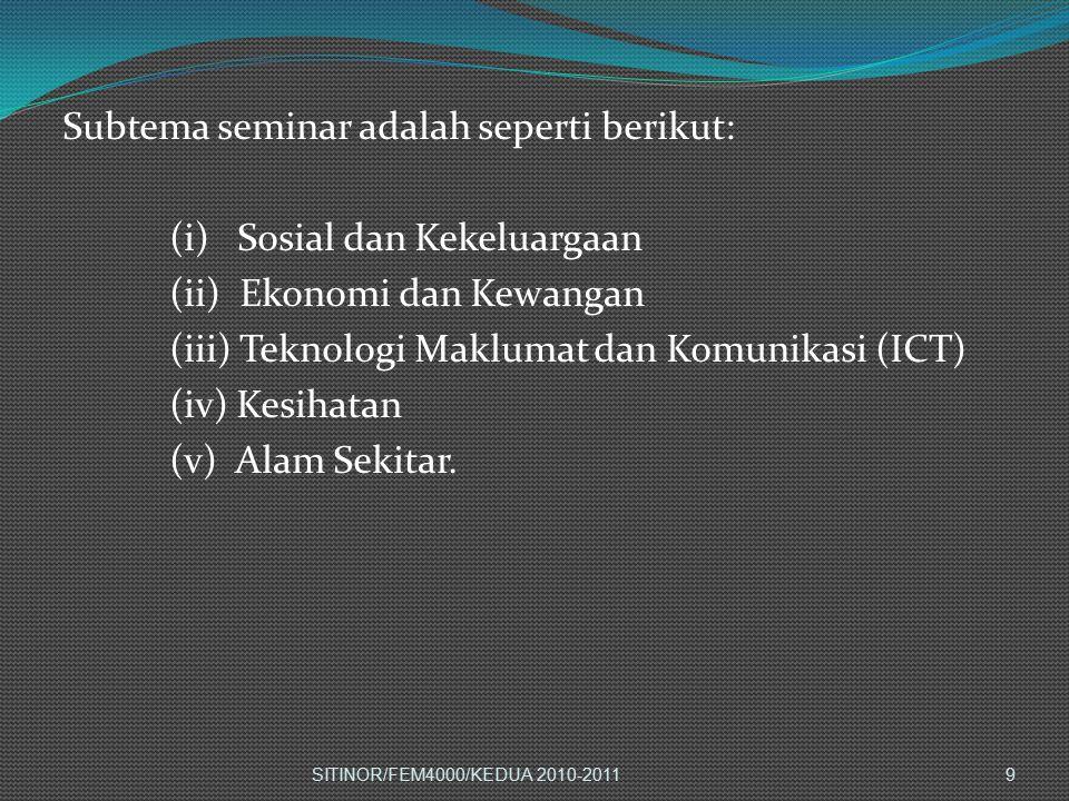 Subtema seminar adalah seperti berikut: (i) Sosial dan Kekeluargaan (ii) Ekonomi dan Kewangan (iii) Teknologi Maklumat dan Komunikasi (ICT) (iv) Kesih
