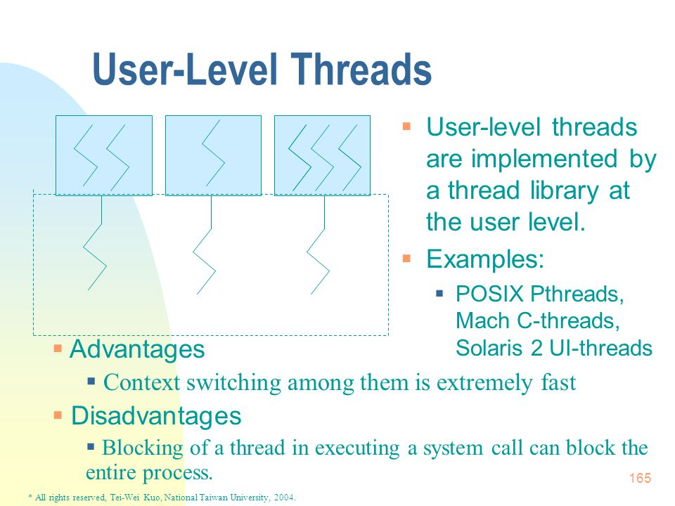 * All rights reserved, Tei-Wei Kuo, National Taiwan University, 2004. 165 User-Level Threads  User-level threads are implemented by a thread library