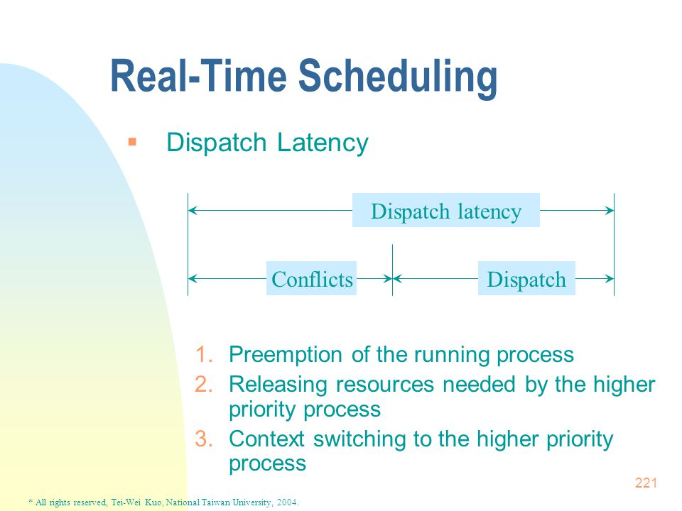 * All rights reserved, Tei-Wei Kuo, National Taiwan University, 2004. 221 Real-Time Scheduling  Dispatch Latency 1.Preemption of the running process