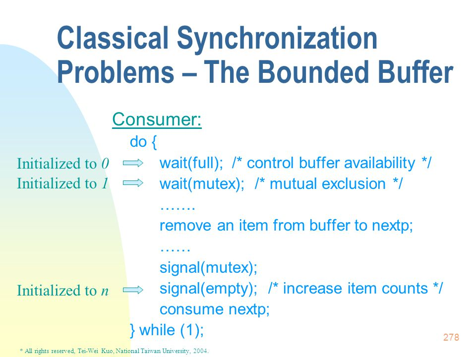 * All rights reserved, Tei-Wei Kuo, National Taiwan University, 2004. 278 Classical Synchronization Problems – The Bounded Buffer Consumer: do { wait(