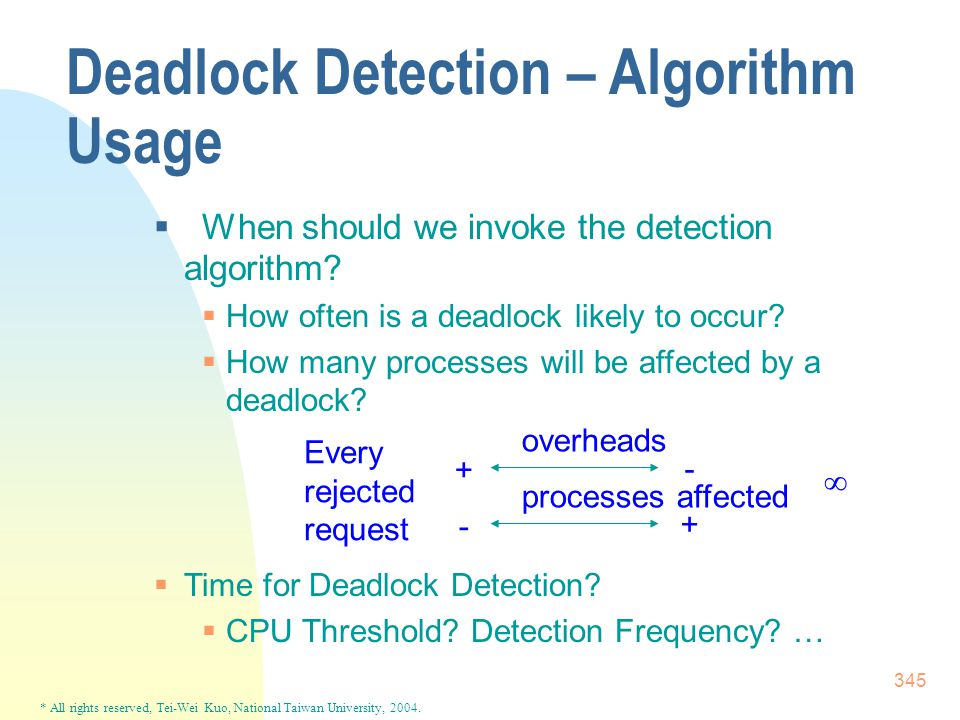 * All rights reserved, Tei-Wei Kuo, National Taiwan University, 2004. 345 Deadlock Detection – Algorithm Usage  When should we invoke the detection a